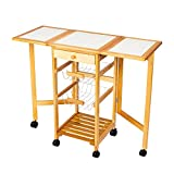 copylegend Portable Rolling Drop Leaf Kitchen Storage Trolley Cart Island Sapele Color