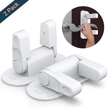 Door Lever Lock OUYUI Child Proof Door Handle Lock No Drill No Screw With  3M Adhesive