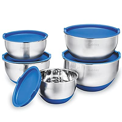 5 Piece Stainless Steel Mixing Bowls With Lids, Non-Slip Silicone Bottom, Stackable For Minimal Storage by Gabbay - 1 – 2 – 2.5 – 3.5 – 4.5 Qt.