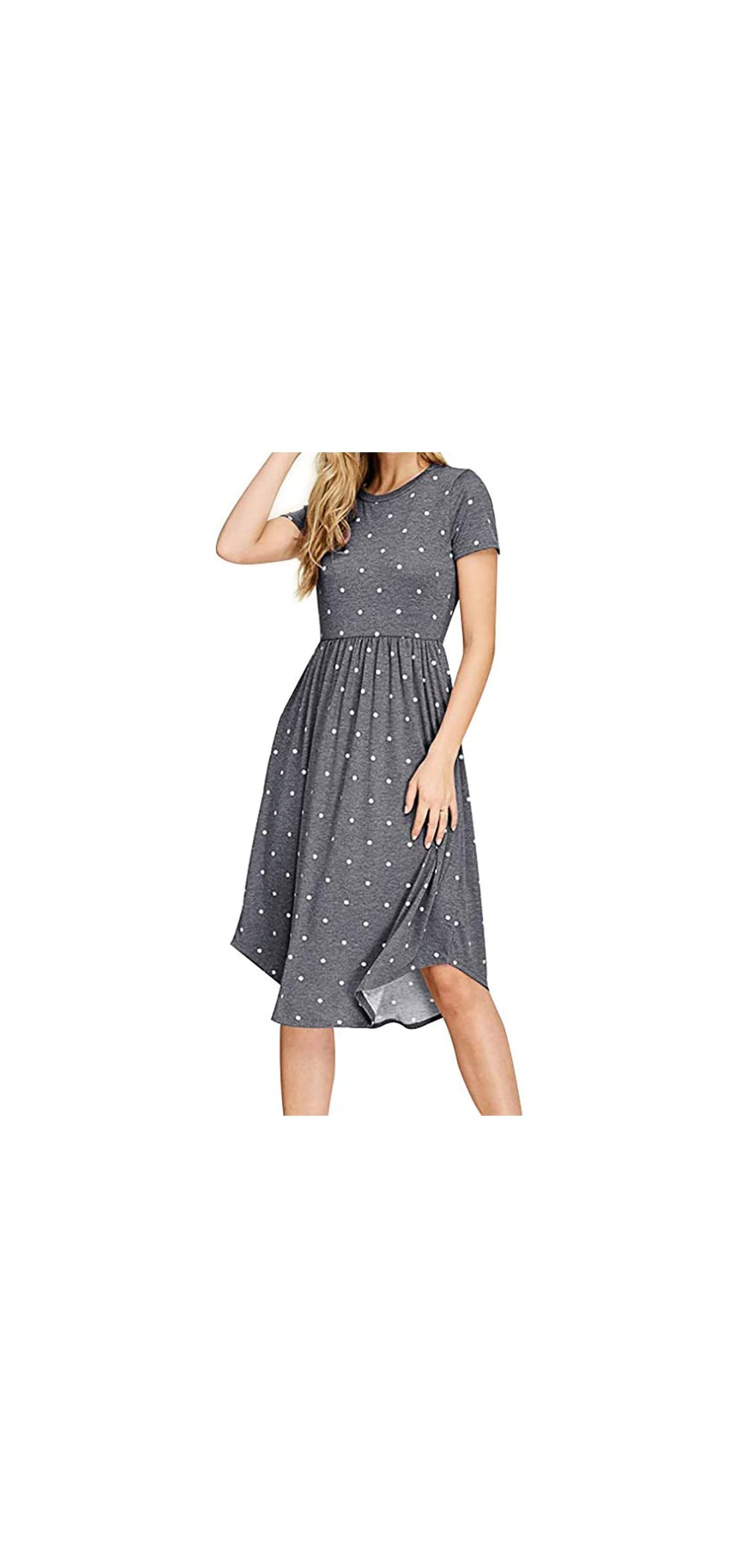 Women's Casual Summer Short Sleeve Pleated Polka Dot Midi