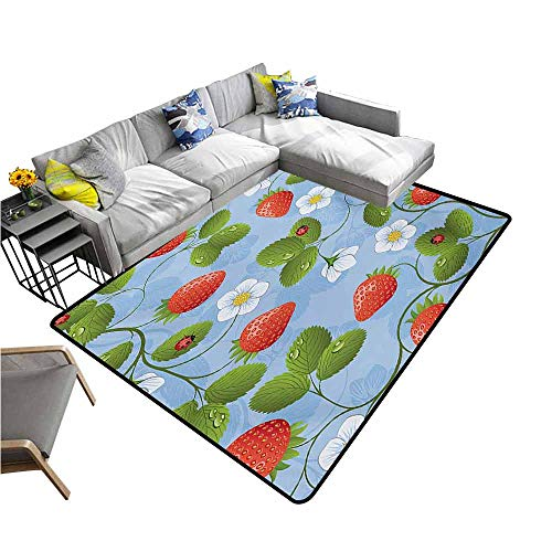 - Outdoor Kitchen Room Floor Mat Ladybugs,Strawberries Daisies and Ladybugs Looks Like Ivy Plant Spotted Insects Image,Blue Green Red 80