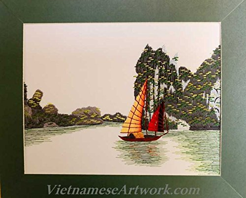Hand Embroidered Painting -Halong Bay - Made in Vietnam- TTS21