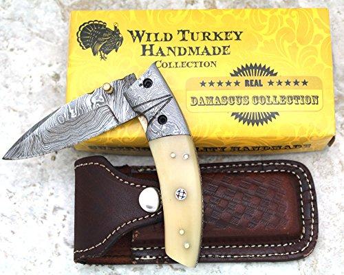 - Wild Turkey Handmade Razor Sharp Damascus Steel Camel Bone Handle Folding Pocket Knife