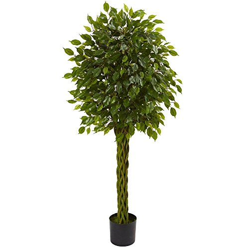 Nearly Natural 5 ft. UV Resistant Indoor/Outdoor Ficus Artificial Tree with Woven Trunk