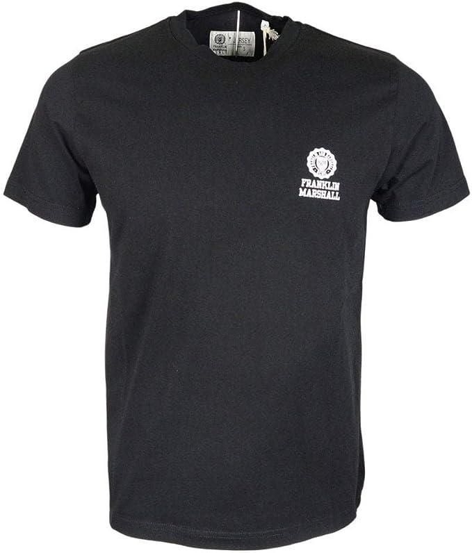 Franklin & Marshall - Camiseta de algodón con cuello redondo para hombre, color negro Negro Negro (XXL: Amazon.es: Ropa y accesorios