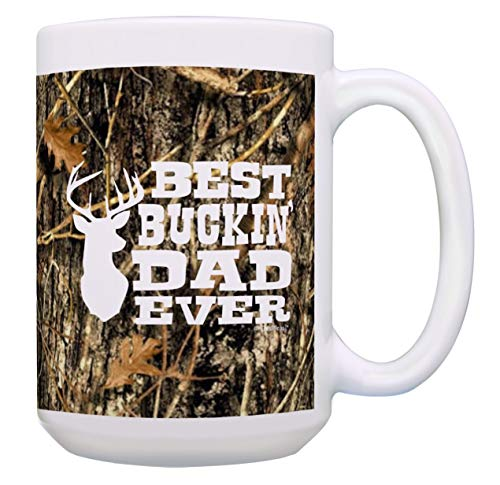 ABLnewitemFrameFF Country Dad Gifts Best Buckin Dad Ever Dad Deer Hunting Gift 15-oz Coffee Mug Tea Cup 15 oz Camo (Mustang 15 Ounce Mug)