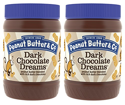Peanut Butter & Co. Dark Chocolatey Dreams Peanut Butter, Non-GMO Project Verified, Gluten Free, Vegan, 16 oz Jars (Pack of -