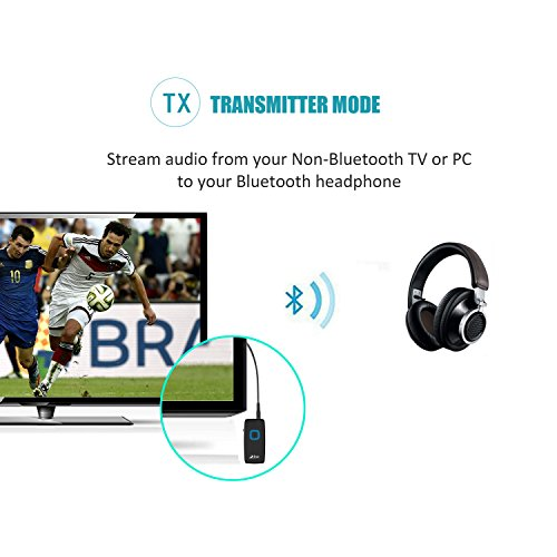 Bluetooth Transmitter and Receiver, Zio 2-In-1 Wireless CSR Bluetooth 3.0 Audio Music Streaming Switchable Transmitter and Receiver With 3.5mm Stereo Output for Car PC iPhone iPod iPad MP3 Player