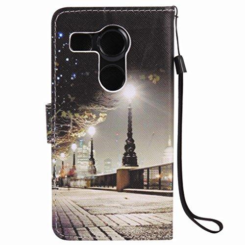Yiizy LG Nexus 5X Funda, Park Street Noche Diseño Solapa Flip Billetera Carcasa Tapa Estuches Premium PU Cuero Cover Cáscara Bumper Protector Slim Piel Shell Case Stand Ranura para Tarjetas Estilo