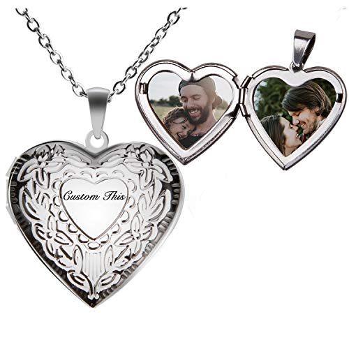 Fanery Sue Personalized Heart Locket Necklace That Holds Pictures Memory Photo Lockets Custom Any Photo Text&Symbols(Custom Photo&Text-Floral -