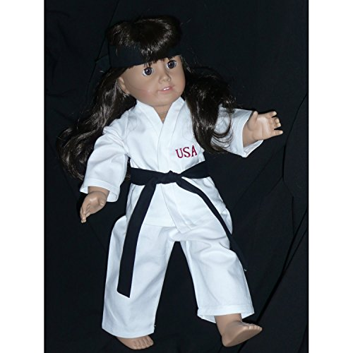 [Fits American Girl Doll Karate 18 inch Clothes for Dolls Outfit Includes Top Pants Belt USA (4 Piece Set)] (Figure Skating Halloween Costumes)