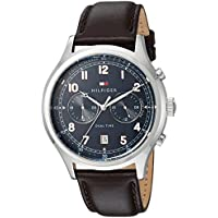 Tommy Hilfiger Men's Sport' Quartz Stainless Steel and Leather Casual Watch, Color:Brown (Model: 1791385)