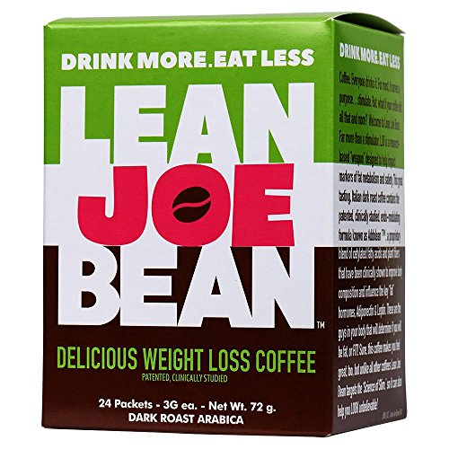 - Lean Joe Bean - Drink More, Eat Less, Delicious Dark Roast Arabica Weight Loss Instant Coffee, 1 Box of 24 Packets