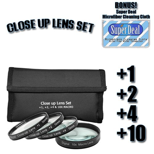 CLASSIC High Definition +1 +2 +4 +10 Close-Up Macro Filter Set + Pouch For The Nikon D3, D40, D40X, D50, D60, D70, D80, D90, D100, D200, D300, D700 Digital SLR Cameras Which Have Any Of These (18-55mm, 55-200mm, 50mm) Nikon Lenses