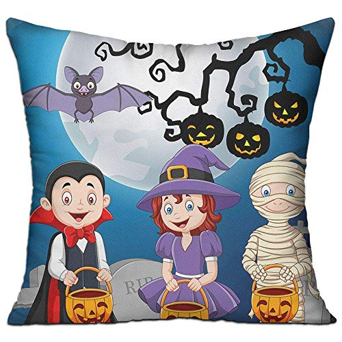 DIY Ecen Cushion Cover Pillow Cover Cartoon Kids with Halloween Costume Holding Pumpki Decorative Pillow Case Sofa Seat Car Pillowcase Soft 18x18 Inch -