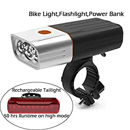 Conwalk USB Rechargeable Bike Light Front, 3 LED 1000 Lumen, 5200 mAh Bicycle Light, Flashlight with 3 Modes, IPX5…
