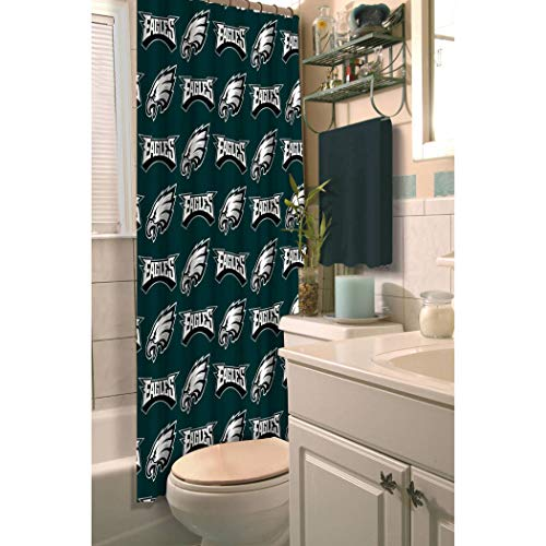 1 Piece NFL Eagles Shower Curtain 72 X 72 Inches, Football Themed Bedding Sports Patterned, Team Logo Fan Merchandise Bathroom Curtain Athletic Team Spirit Fan, White Silver, Midnight Green, Polyester