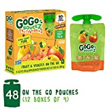 GoGo squeeZ Fruit & VeggieZ on the Go, Apple Pear Carrot, 3.2 Ounce (Pack of 48), Gluten Free, Vegan Friendly, Healthy Snacks, Unsweetened, Recloseable, BPA Free Pouches