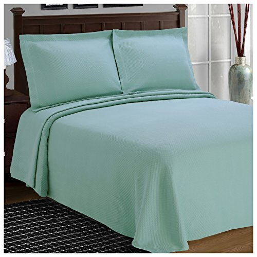 Superior Diamond Solitaire Jacquard Matelassé 100% Premium Cotton Bedspread with Matching Shams, King, Aqua