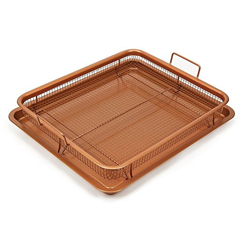 Kitchen Royale's Royal Copper Crisper Air Fry Pan (AS SEEN ON TV) – Ceramic Coated Tray & Non-Stick Basket - Healthy Oil Free Frying Option For French Fries, Chicken, Onion (Fry Basket Rack)