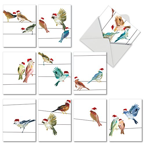 10 Watercolor 'Holiday High Wire Birds' Christmas Cards with Envelopes 4 x 5.12 inch, Holiday Greeting Cards with Birds Wearing Santa Hats, Assorted Seasonal Stationery M3318XSG (Christmas Environmental Cards)