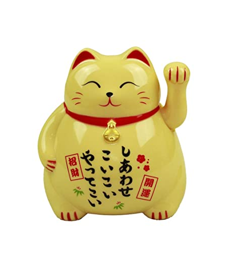 HAAC Gato de Gato de la Suerte Amuleto Color Amarillo 10 cm