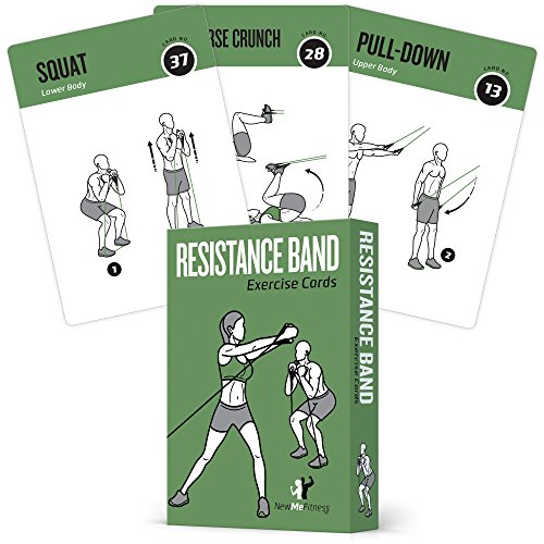 Resistance Band Tube Exercise Cards - Extra Large with 6 Effective Home Workouts : Large, Durable & Waterproof with Diagrams and Instructions : Simple Fitness Guide for Men & Women : 62 Cards by NewMe Fitness