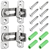 Tatuo 2 Pieces 90 Degree Right Angle Door Latch Hasp Bending Latch Buckle Bolt Sliding Lock Barrel Bolt with Screws for Doors and Windows