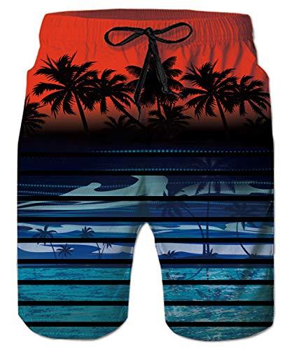 Coco Palms - Hawaiian Swim Trunks Blue Tropical Palm Coco Coconut Tree Men Swim Beach Shorts Holiday Party Summer Beachwear
