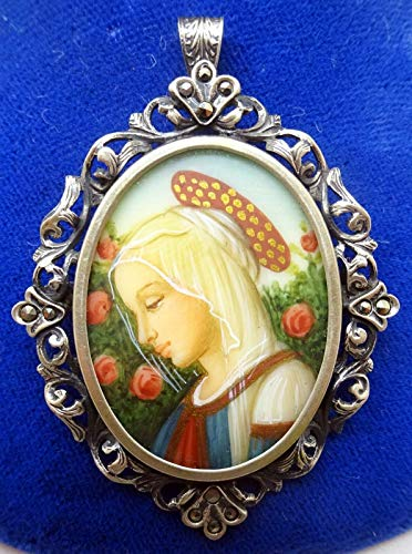 .800 Silver Hand Painted Portrait Pin/Pendant (#J3421)