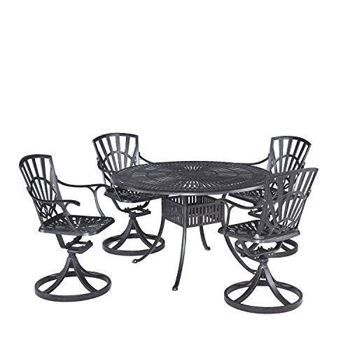 Largo Charcoal Finish 5-Piece Dining Set with 4 Swivel Chairs by Home Styles