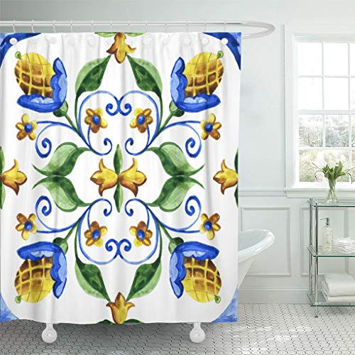 Emvency Shower Curtain Ancient Abstract Watercolor Majolica Pattern Tiles Antique Arabic Barcelona Shower Curtains Sets with Hooks 72 x 78 Inches Waterproof Polyester ()