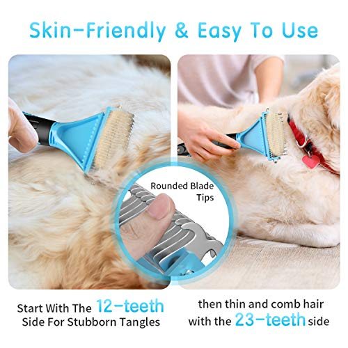 MENNYO Dog Grooming Dematting Comb, Pet Rake Comb with Double-Sided Teeth for Dogs / Cats with Short / Long Hair, Removes Tangled Hair, Dead Hair, Mats and Knots