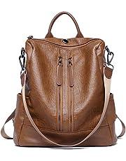Damen Rucksack Weich Leder Handtaschen Mode Umhängetasche Reiserucksack Anti Diebstahl Schultertasche Grau