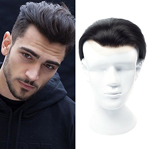 - Mens Toupee 4.33x6.69 inch 100% European Virgin Human Hair Toupee For Men Human Hair Pieces With Soft Thin Super Swiss lace (7'', Nature Black)