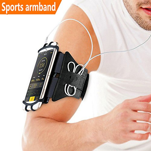 "Sports Armband, 180° Rotatable Workout Cellphone Armband Phone Holder for Running Jogging, Cell Phone Running Armband for 4-6"" Phone, iPhone 8 7 6s Plus, Samsung Galaxy S8 S7 S6 (Black)"
