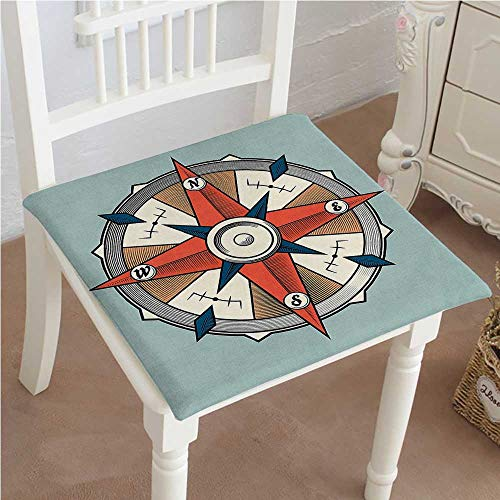 Mikihome Chair Pads Squared Seat Funky Style Compass Illustration with Arrows Cartography Journey Path Always North Blue Red Outdoor Dining Garden Patio Home Kitchen Office 18