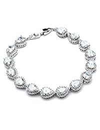 """Mariell 6 1/2"""" CZ Wedding Bridal Tennis Bracelet with Pear-Shaped Halos - Petite Size for Smaller Wrist"""