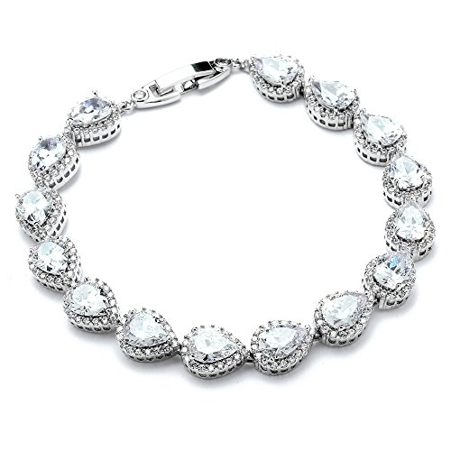 Mariell Platinum Plated Tennis Bracelet with Pear-Shaped Cubic Zirconia Halos for Brides, Wedding & Prom
