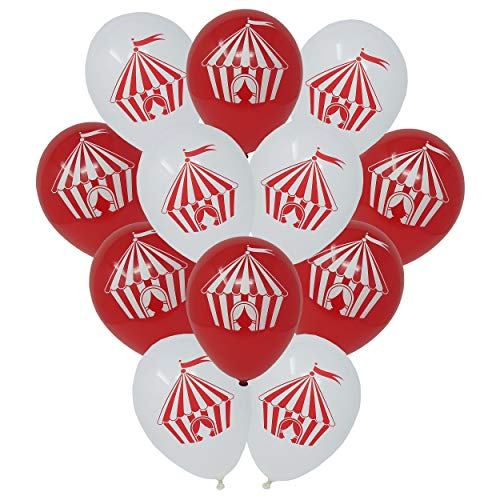 Circus Tent Latex Balloons - Carnival Party Decorations - Red and White - 24 -