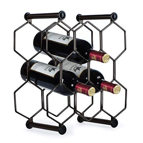 Honeycomb Metal 8-bottle Tabletop Wine Rack, Free Standing