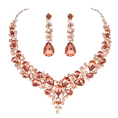 - Youfir Bridal Austrian Crystal Necklace and Earrings Jewelry Set Gifts fit with Wedding Dress (Rose Gold-Peach)