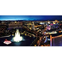Las Vegas Poster Photo Wallpaper - The Strip And The Fountains Of Bellagio By Night, 3 Parts (142 x 71 inches)