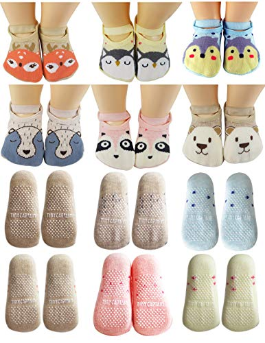 Baby Socks Toddler Girls Anti Slip Cartoon Animal 1 Year Old Gift Best Non Skid Cotton Sock from Tiny Captain (Pink, Blue, Grey, Tan)]()