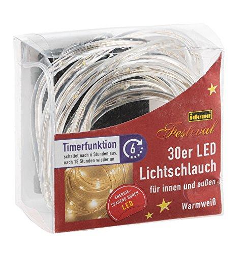 Idena LED Lichtschlauch 30-er, mit Timer, für Innen und Außen, batteriebetrieben, warmweiß 10035002
