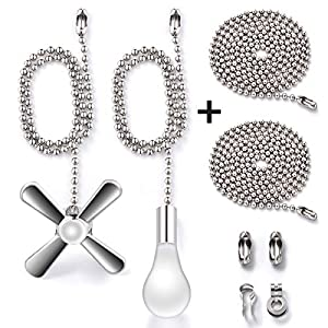Fan Pull Chain with 35.4 inches Extension, Kinghouse 2 pcs 13.6 inches 3.2mm Beaded Ball Fan Pull Chain Set including Beaded and Pull Loop Connectors, Christmas Holiday Gift Set