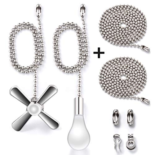 (Fan Pull Chain with 35.4 inches Extension, Kinghouse 2 pcs 13.6 inches 3.2mm Beaded Ball Fan Pull Chain Set including Beaded and Pull Loop Connectors, Christmas Holiday Gift Set)