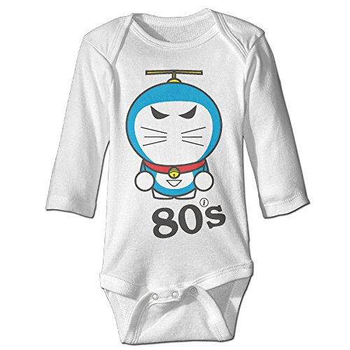 [Alexx 80s Doraemon Kid Jumpsuit Bodysuit Long-sleeve Romper White 18 Months] (Toddler Girl Racer Costume)