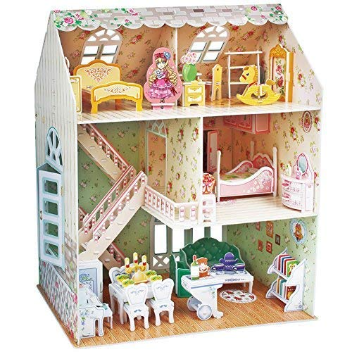 - CubicFun Dollhouse Kits with Furniture,Kids House 3D Puzzle Toys 160 Piece,P645h