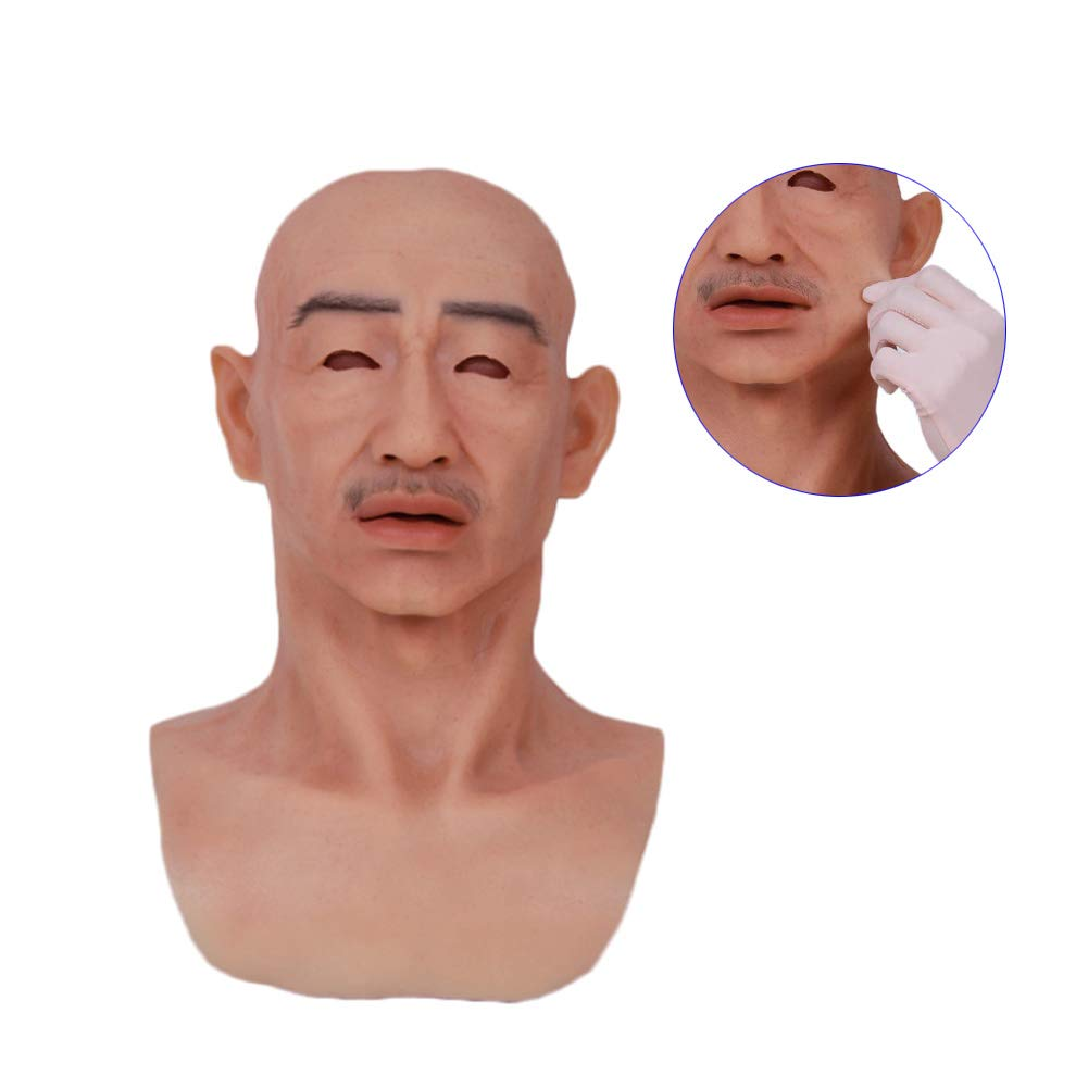 NACHEN Crossdresser Cosplayer Realistic Old Man Latex Mask Adult Male Full Overhead Mask Realistic Old Man Masks